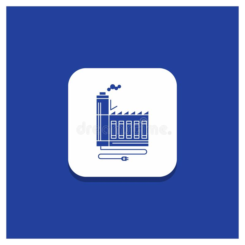 Bouton rond bleu pour la consommation, ressource, énergie, usine, icône de fabrication de Glyph illustration de vecteur