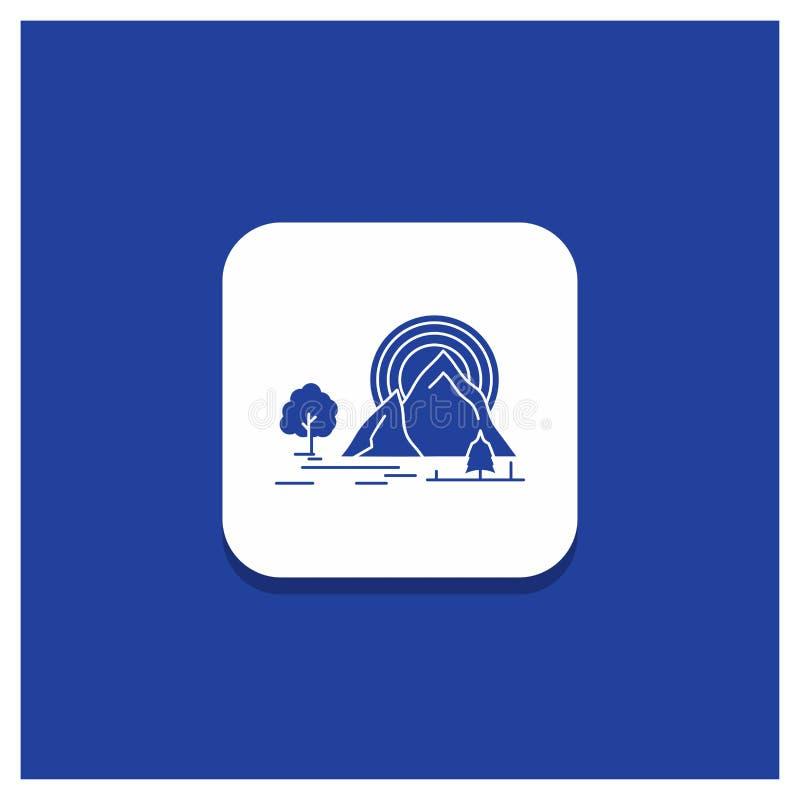 Bouton rond bleu pour la montagne, colline, paysage, nature, icône de Glyph d'arc-en-ciel illustration libre de droits