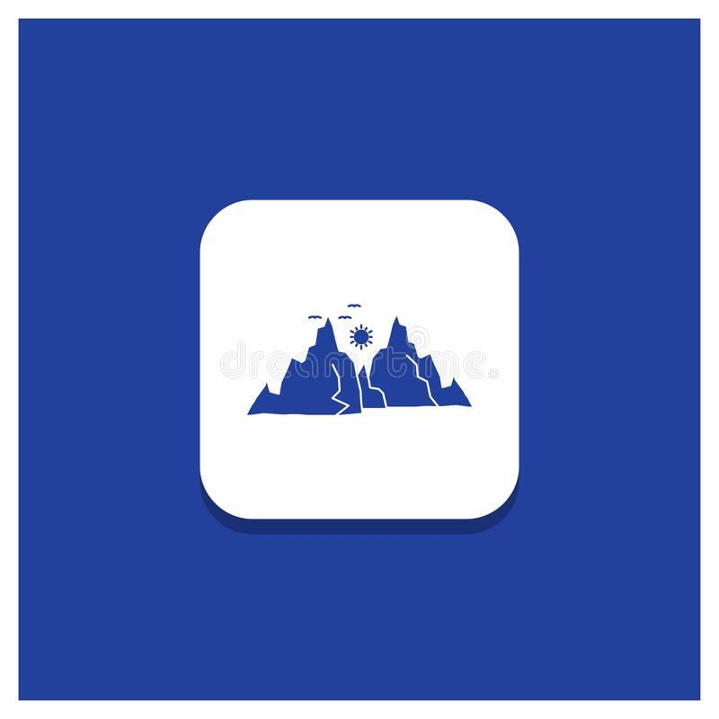 Bouton rond bleu pour la montagne, paysage, colline, nature, icône de Glyph du soleil illustration libre de droits