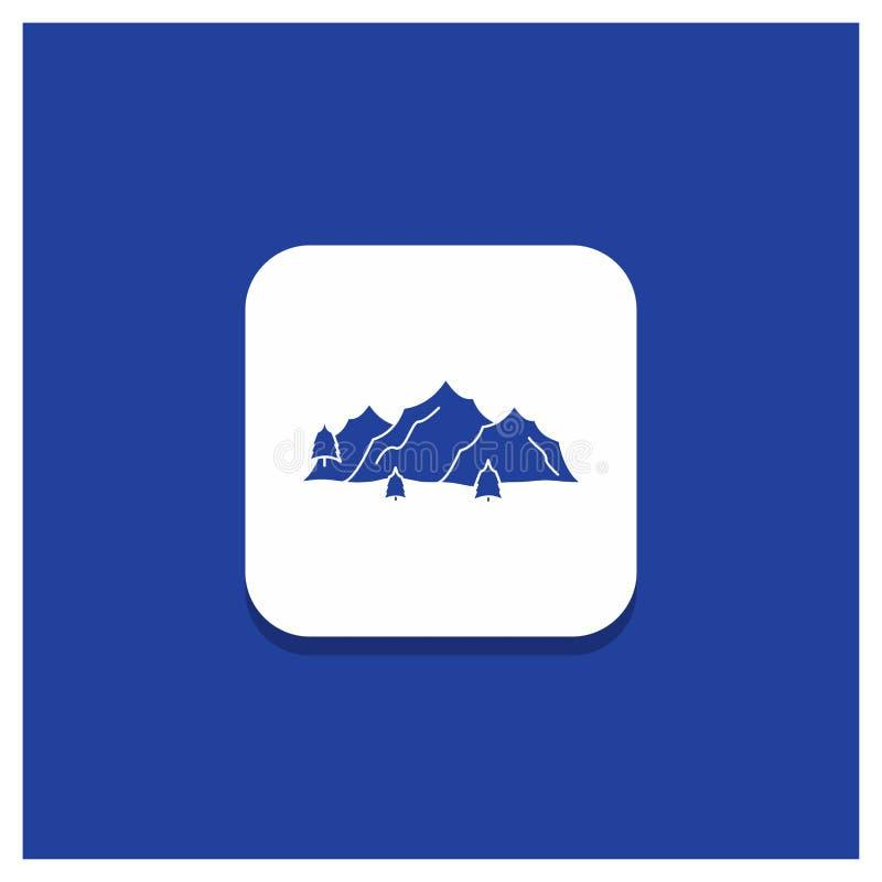 Bouton rond bleu pour la montagne, paysage, colline, nature, ic?ne de Glyph d'arbre illustration stock