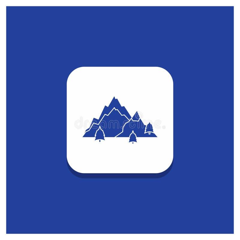 Bouton rond bleu pour la montagne, paysage, colline, nature, ic?ne de Glyph d'arbre illustration libre de droits