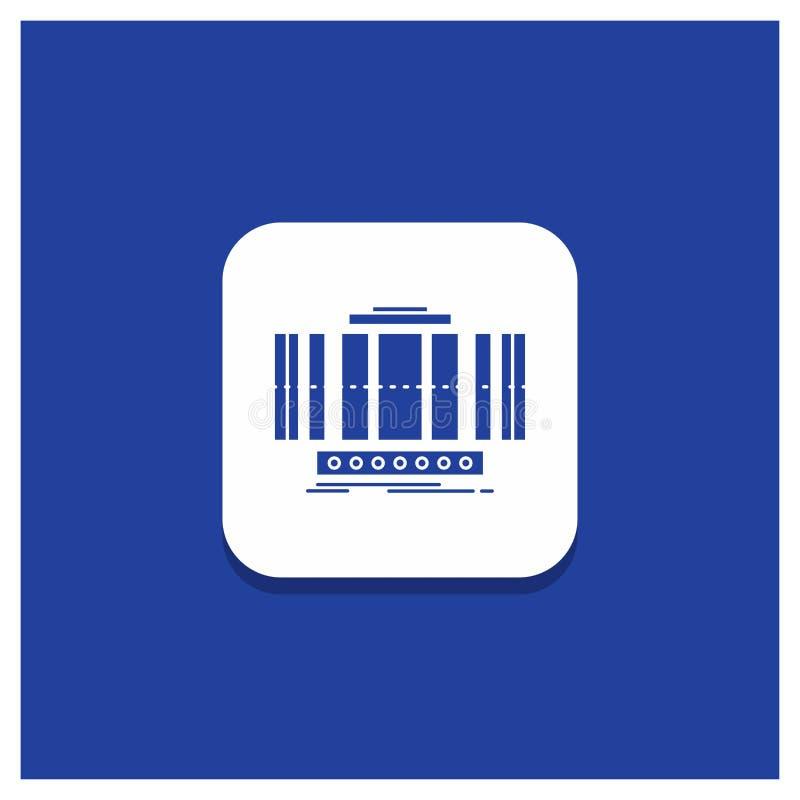 Bouton rond bleu pour la turbine, verticale, axe, vent, icône de Glyph de technologie illustration stock