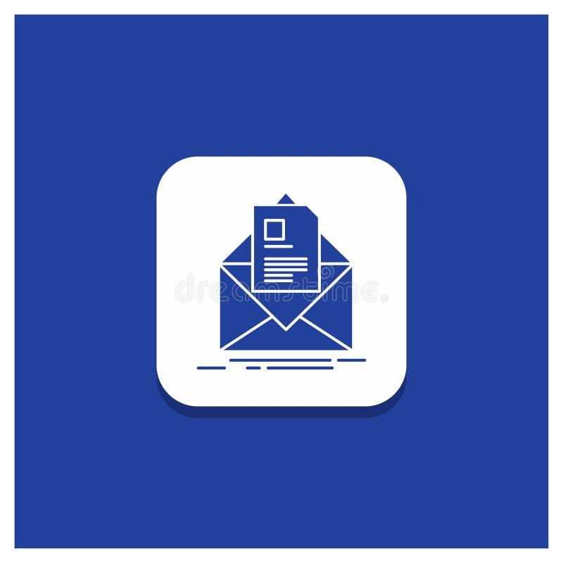 Bouton rond bleu pour le courrier, contrat, lettre, email, donnant des instructions l'icône de Glyph illustration libre de droits