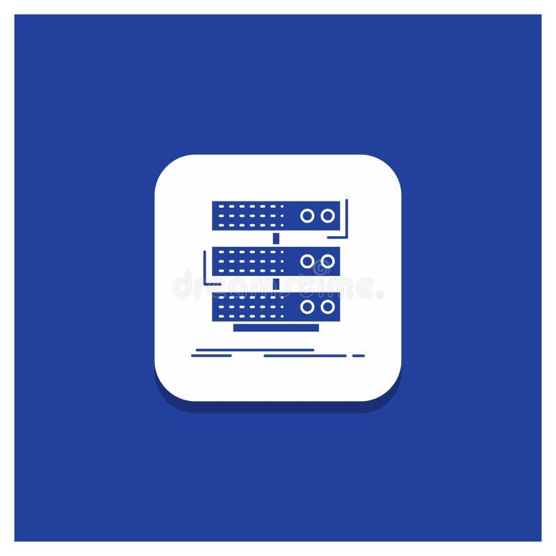 Bouton rond bleu pour le serveur, stockage, support, base de données, icône de Glyph de données illustration libre de droits
