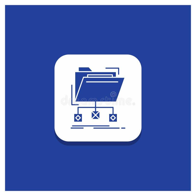 Bouton rond bleu pour le support, données, dossiers, dossier, icône de Glyph de réseau illustration stock