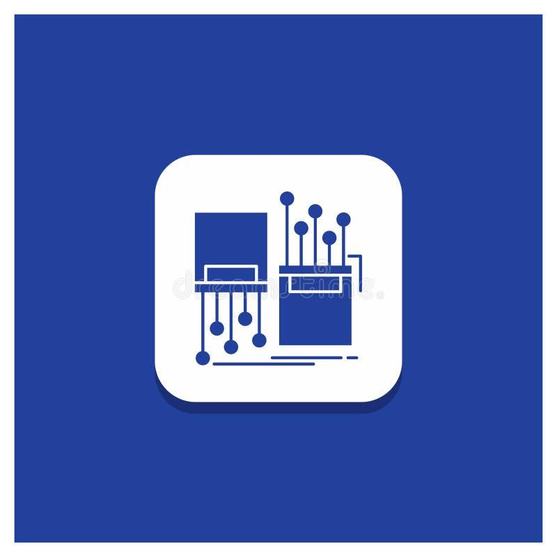 Bouton rond bleu pour numérique, fibre, électronique, ruelle, icône de Glyph de câble illustration stock