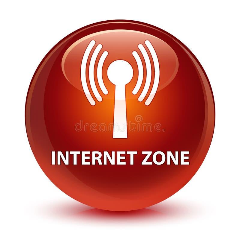 Bouton rond brun vitreux de zone d'Internet (réseau wlan) illustration de vecteur