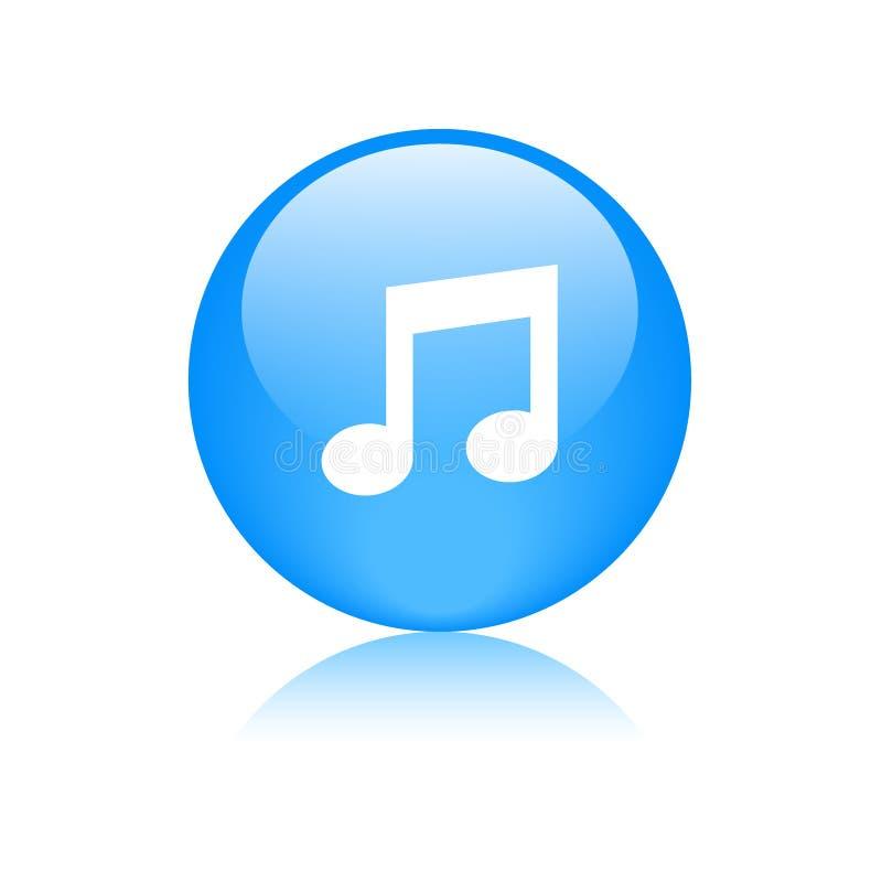 Bouton rond d'icône audio de musique illustration stock