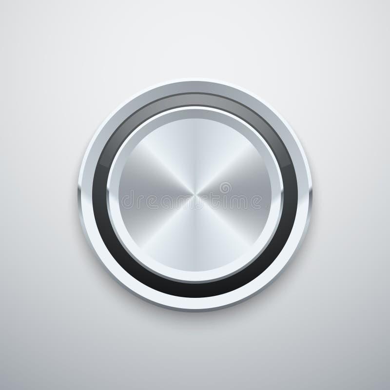 Bouton rond en acier de bouton de vecteur en métal d'argent réaliste de chrome illustration de vecteur