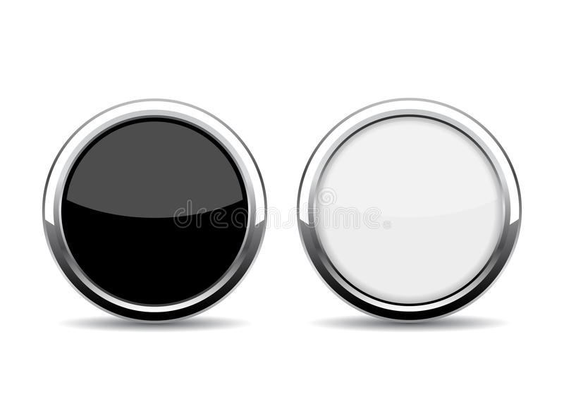 Bouton rond en verre de chrome illustration stock