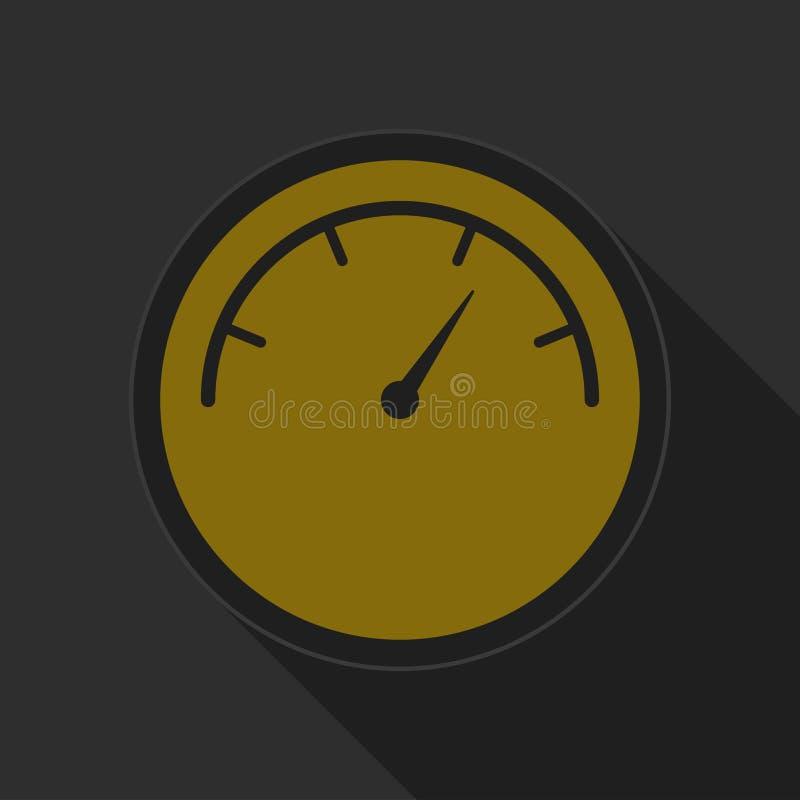 Bouton rond jaune avec l'icône noire de symbole de cadran illustration stock