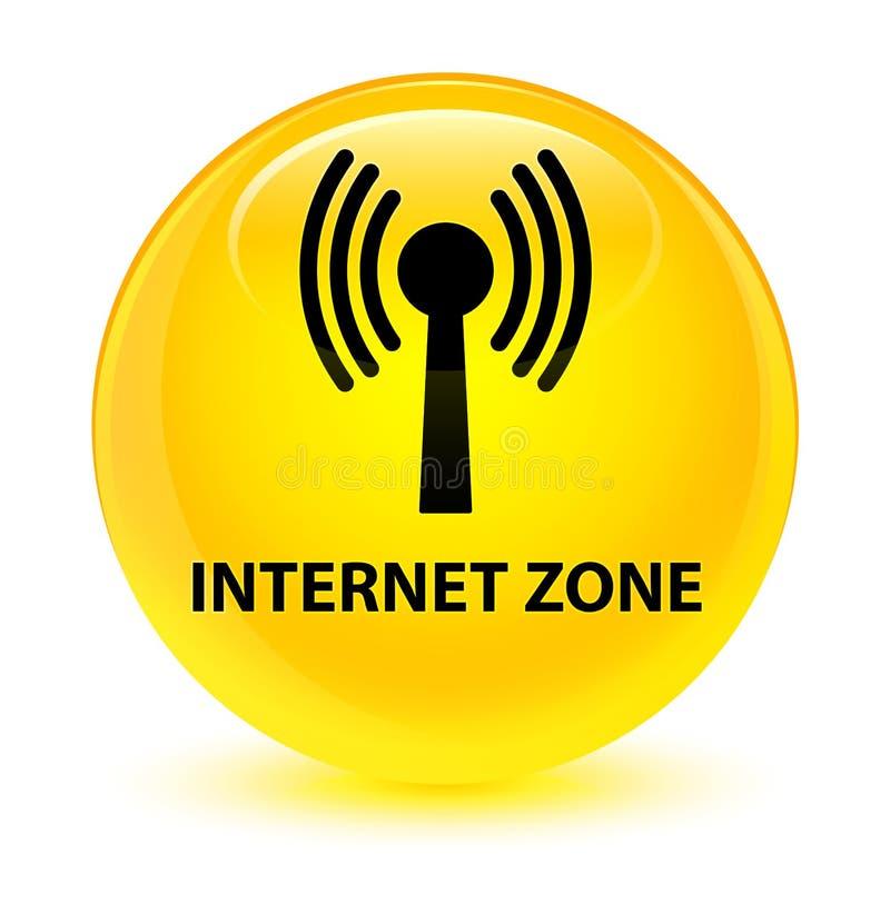 Bouton rond jaune vitreux de zone d'Internet (réseau wlan) illustration de vecteur