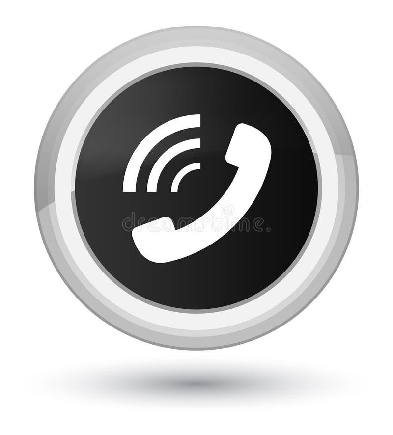 Bouton rond noir principal de sonnerie d'icône de téléphone illustration stock