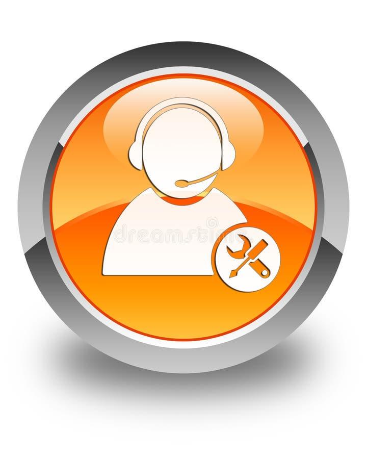 Bouton rond orange brillant d'icône de support technique illustration stock