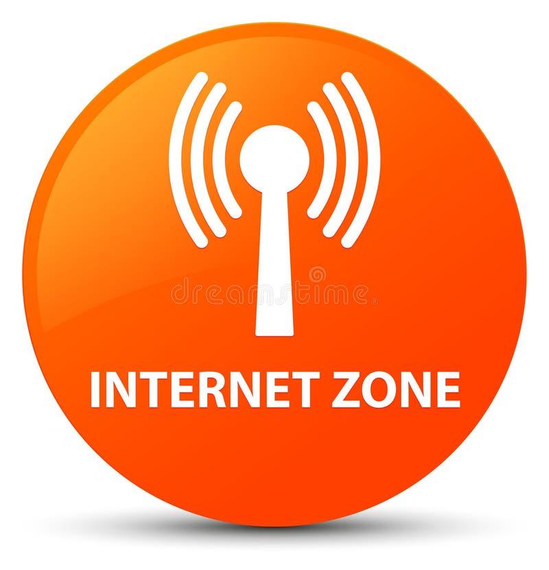 Bouton rond orange de zone d'Internet (réseau wlan) illustration libre de droits