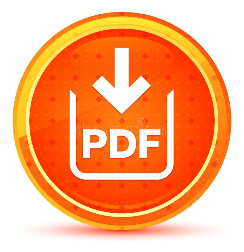 Bouton rond orange naturel d'icône de téléchargement de document de pdf illustration de vecteur