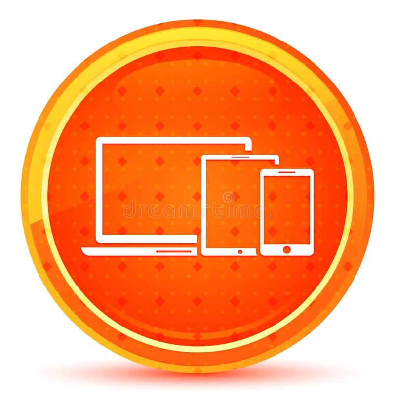 Bouton rond orange naturel d'icône futée de dispositifs de Digital illustration stock