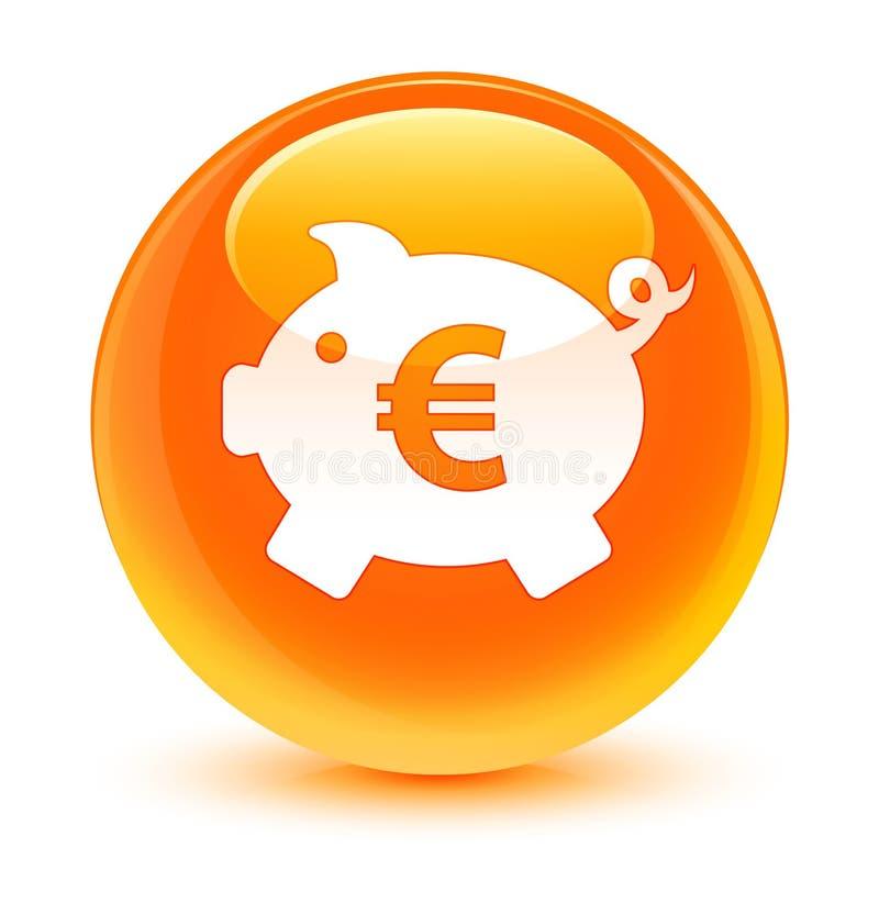 Bouton rond orange vitreux d'euro icône de signe de tirelire illustration libre de droits