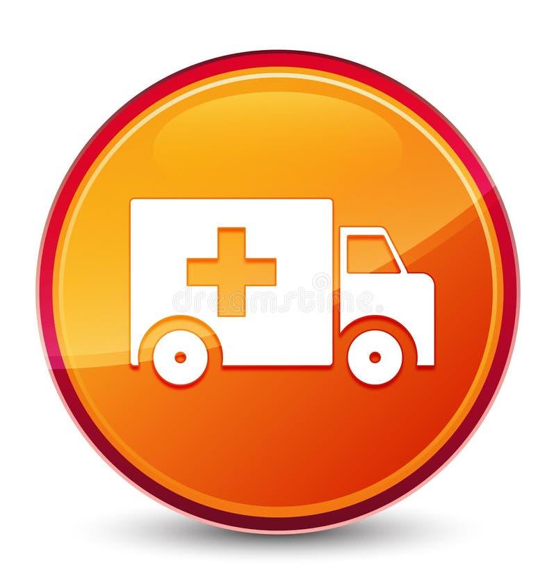 Bouton rond orange vitreux spécial d'icône d'ambulance illustration libre de droits