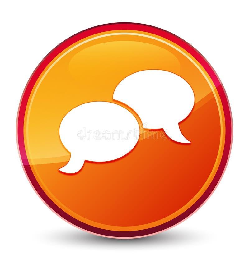 Bouton rond orange vitreux spécial d'icône de bulle de causerie illustration libre de droits