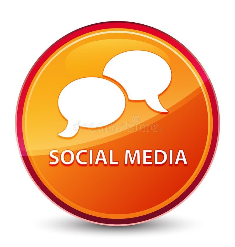 Bouton rond orange vitreux spécial social de médias (icône de bulle de causerie) illustration de vecteur