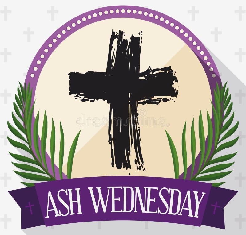 Bouton rond pour Ash Wednesday avec la croix, les paumes et le ruban, illustration de vecteur illustration stock