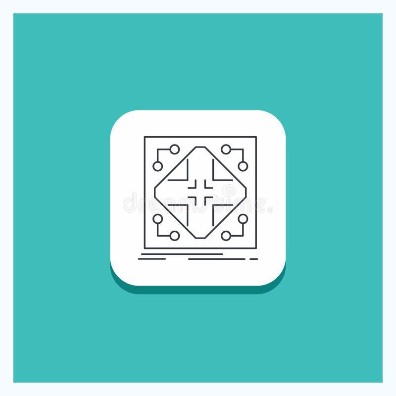 Bouton rond pour des données, infrastructure, réseau, matrice, ligne de grille fond de turquoise d'icône illustration de vecteur