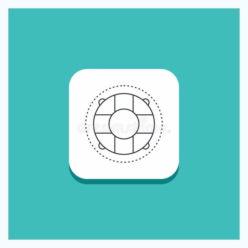 Bouton rond pour l'aide, la vie, bouée de sauvetage, sauveteur, ligne fond de conservateur de turquoise d'icône illustration libre de droits