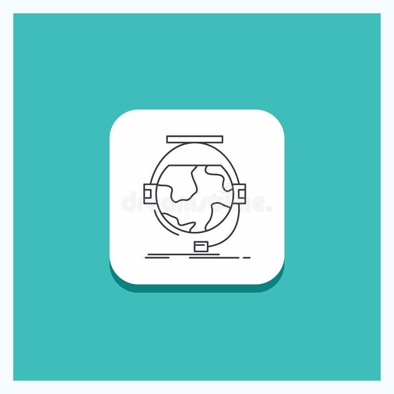 Bouton rond pour la consultation, éducation, en ligne, e apprenant, ligne fond de soutien de turquoise d'icône illustration de vecteur