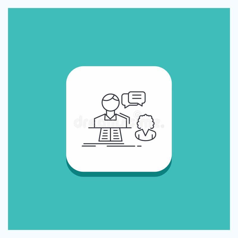Bouton rond pour la consultation, causerie, réponse, contact, ligne fond de soutien de turquoise d'icône illustration de vecteur