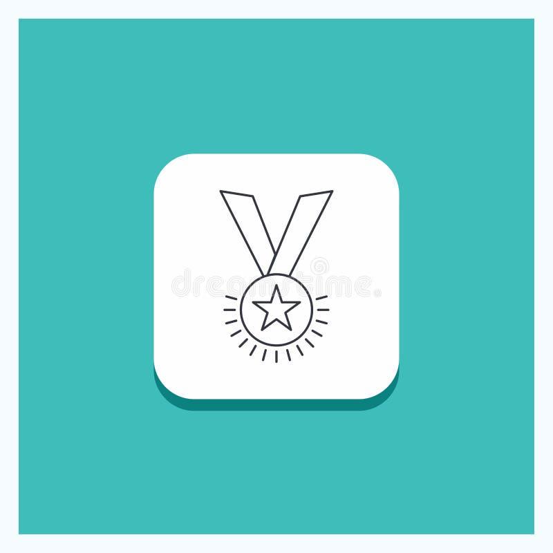 Bouton rond pour la récompense, honneur, médaille, grade, réputation, ligne fond de ruban de turquoise d'icône illustration de vecteur