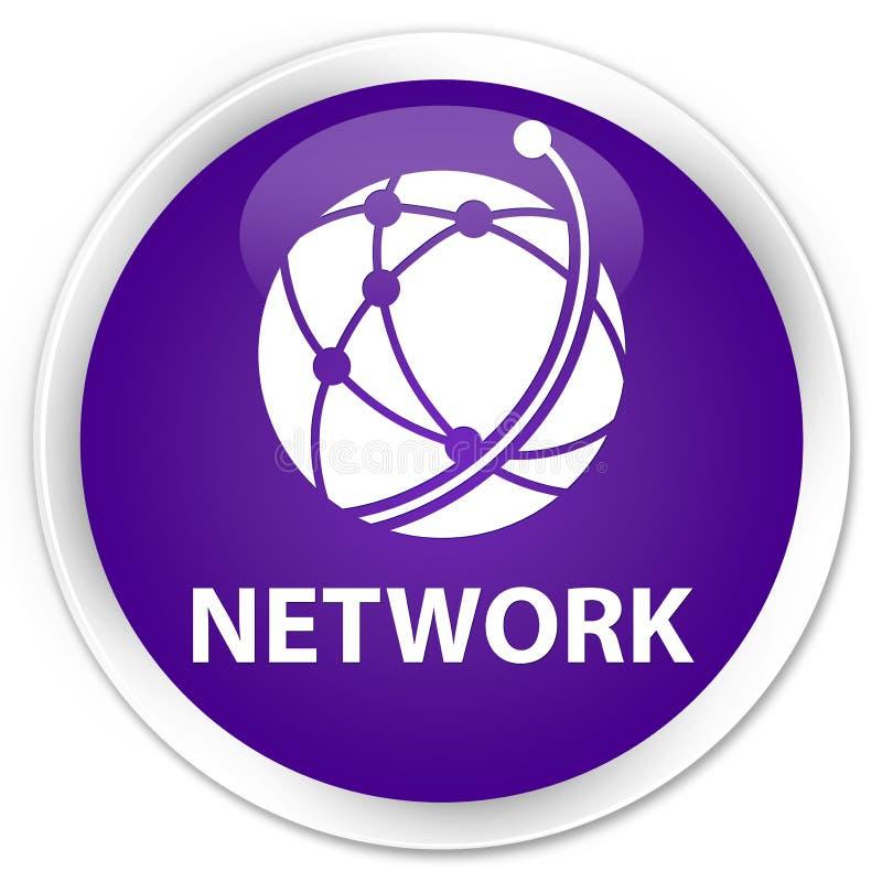 Bouton rond pourpre de la meilleure qualité de réseau (icône de réseau global) illustration de vecteur