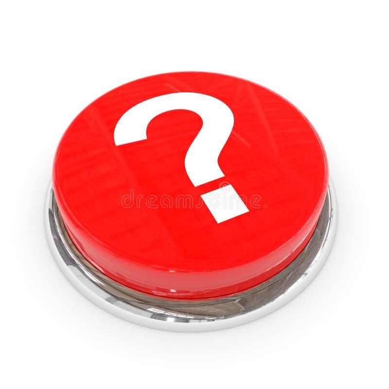Bouton rond rouge avec le point d'interrogation blanc. illustration stock