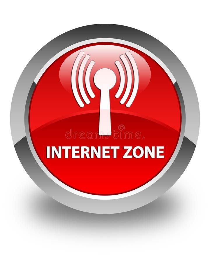 Bouton rond rouge brillant de zone d'Internet (réseau wlan) illustration libre de droits