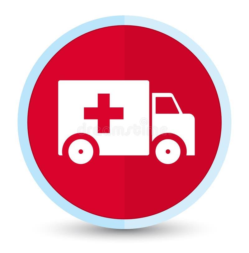 Bouton rond rouge principal plat d'icône d'ambulance illustration libre de droits