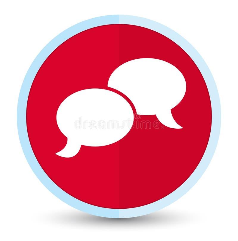 Bouton rond rouge principal plat d'icône de bulle de causerie illustration libre de droits