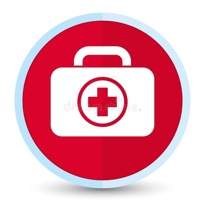 Bouton rond rouge principal plat d'icône de kit de premiers secours illustration stock