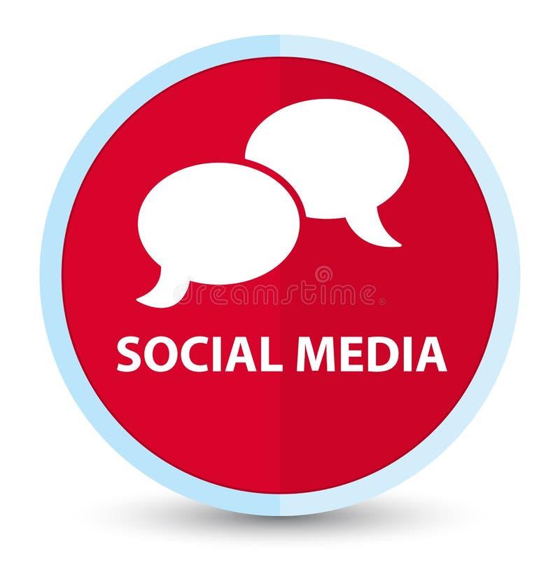 Bouton rond rouge principal plat social de médias (icône de bulle de causerie) illustration libre de droits