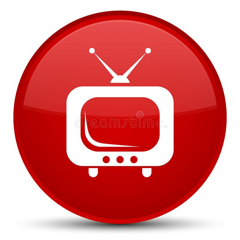 Bouton rond rouge spécial d'icône de TV illustration stock