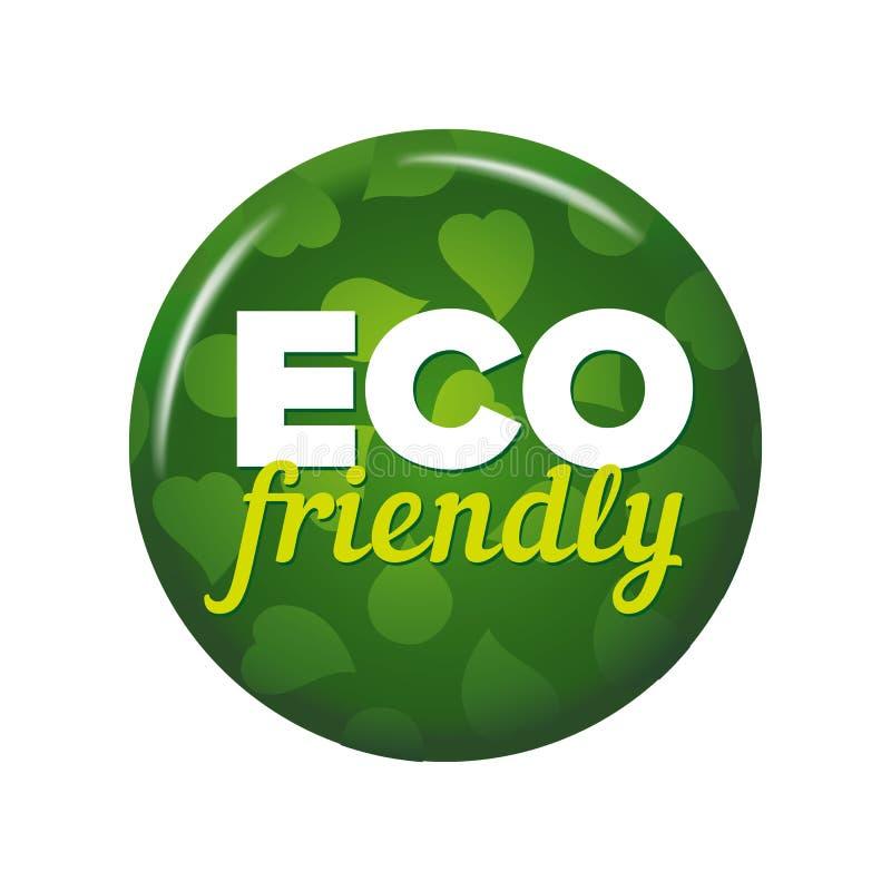 Bouton rond vert clair avec le ` écologique de ` de mots illustration stock