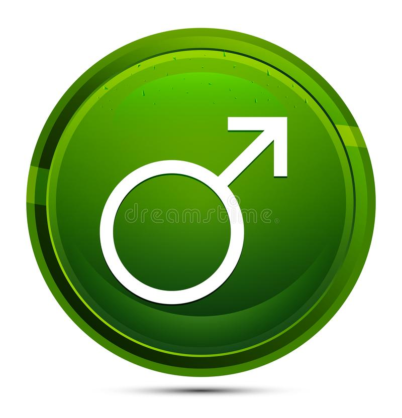 Bouton rond vert verre de l'icône de symbole masculin illustration illustration libre de droits