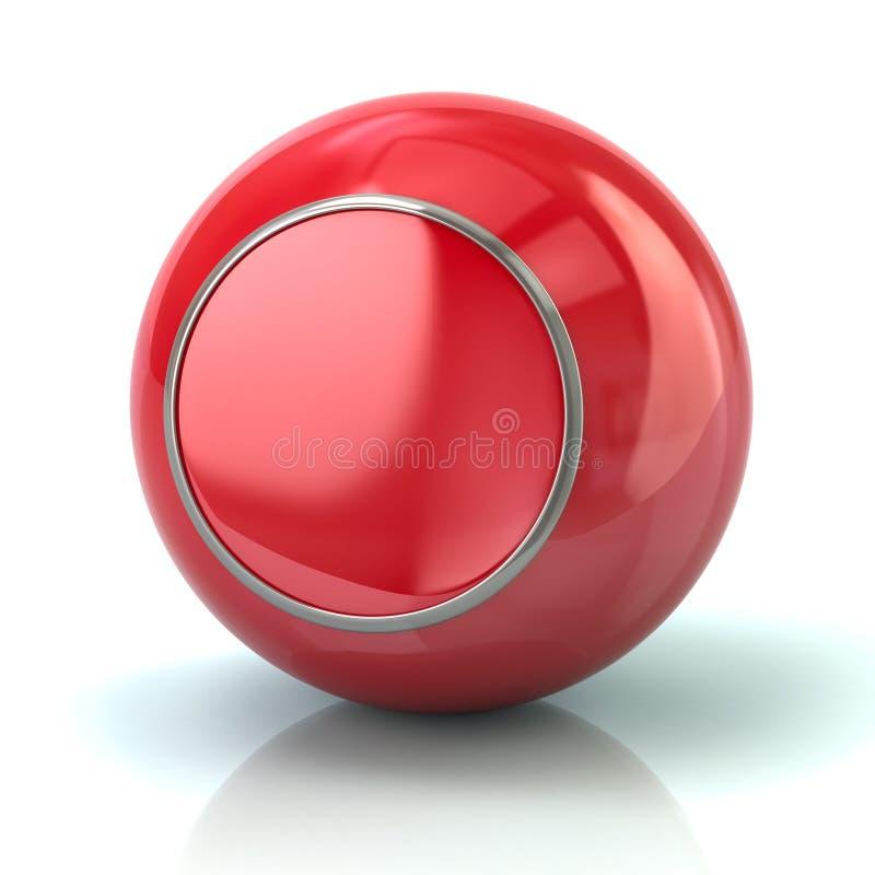 Bouton rouge avec l'illustration du borde 3d en métal illustration stock