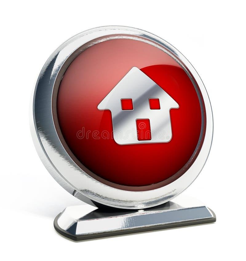 Bouton rouge brillant avec le symbole de maison illustration 3D illustration de vecteur