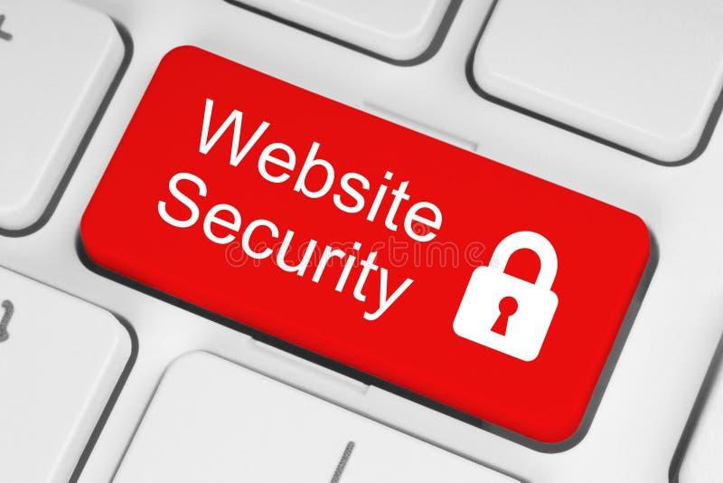 Bouton rouge de sécurité de site Web photos stock