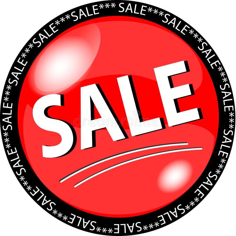 bouton rouge de vente illustration stock