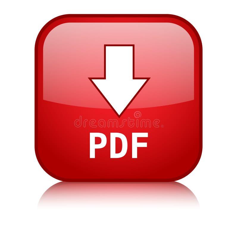 Bouton rouge de Web de vecteur de TÉLÉCHARGEMENT de PDF illustration stock