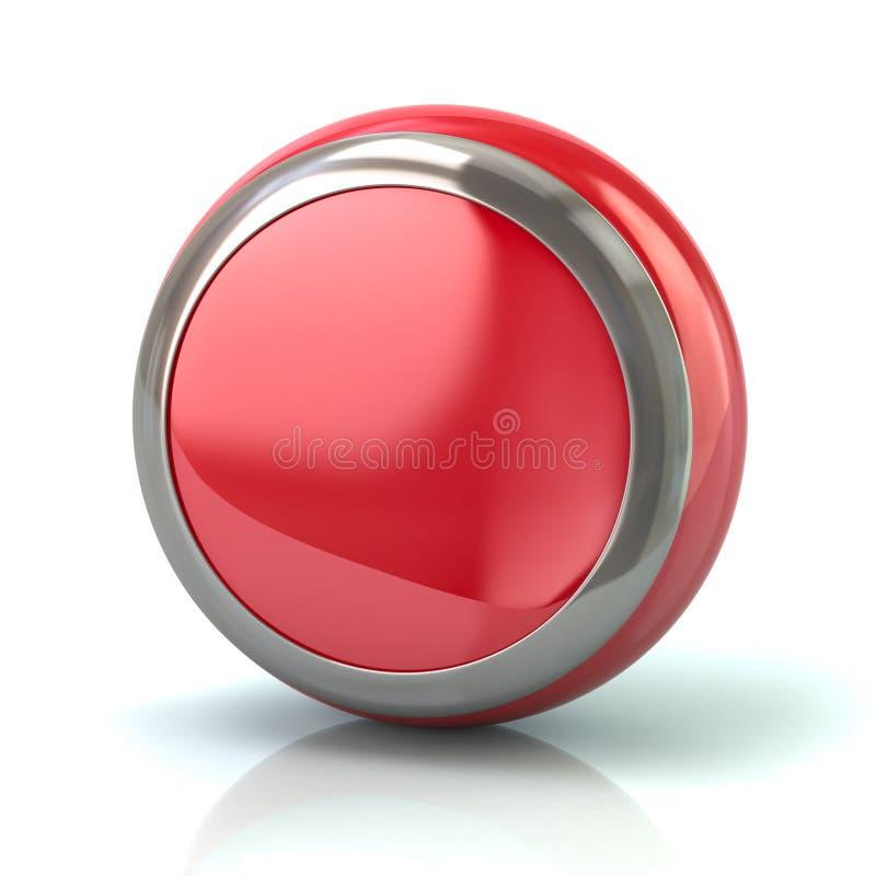 Bouton rouge rond avec l'illustration du borde 3d en métal illustration libre de droits