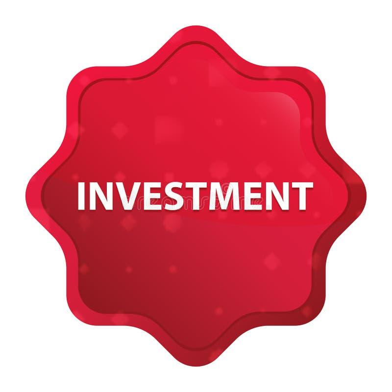 Bouton rouge rose brumeux d'autocollant de starburst d'investissement illustration stock