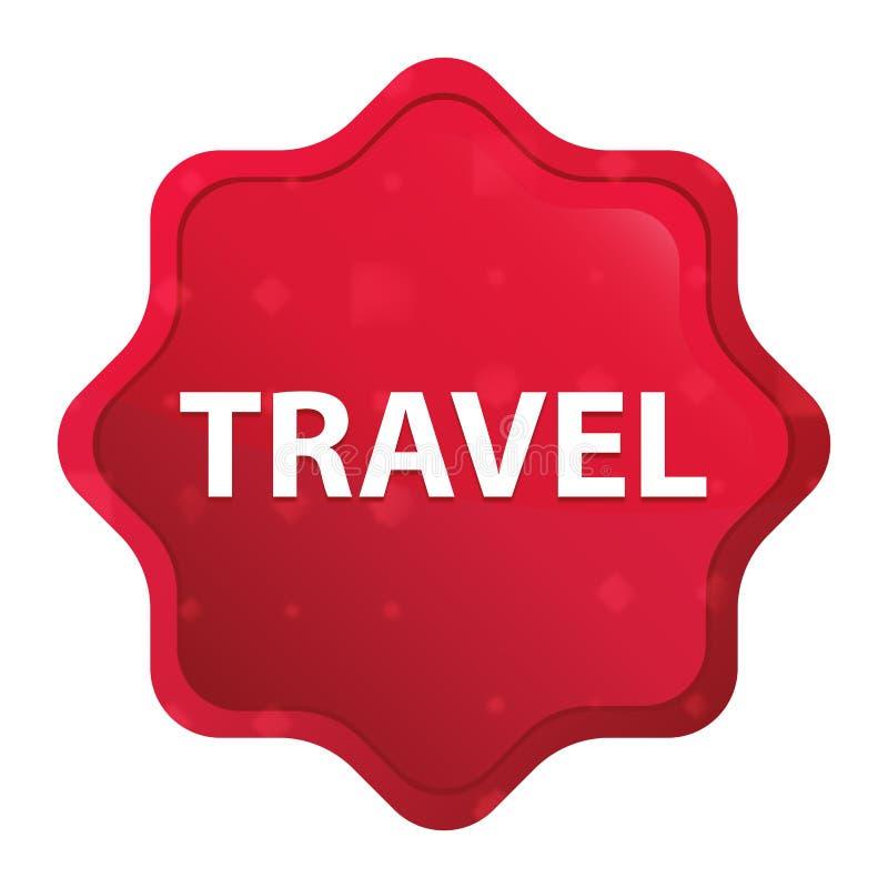 Bouton rouge rose brumeux d'autocollant de starburst de voyage illustration stock