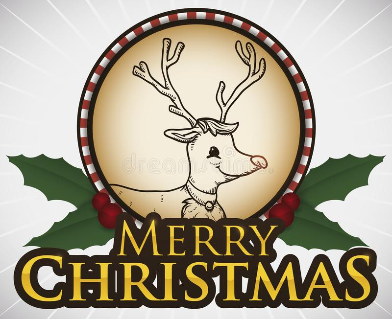 Bouton saisonnier de Noël avec la conception mignonne de renne, illustration de vecteur illustration libre de droits